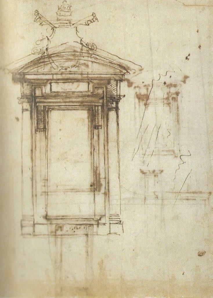 Michelangelo design for the Laurentian library door